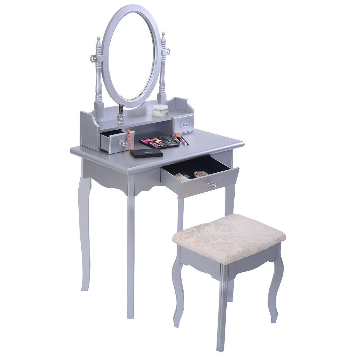 Vanity jewelry makeup dressing table set wstool drawer mirror wood