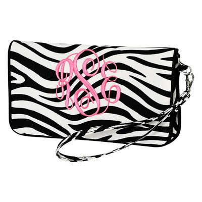 Monogrammed Wristlet--this looks to be big enough for an epi pen and other essentials 9 x 5""