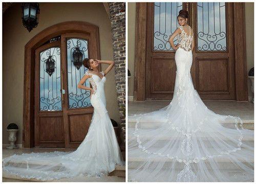 2014New White/Ivory Lace Wedding Dress Custom Size 6 8 10 12 14 16 18 20 22