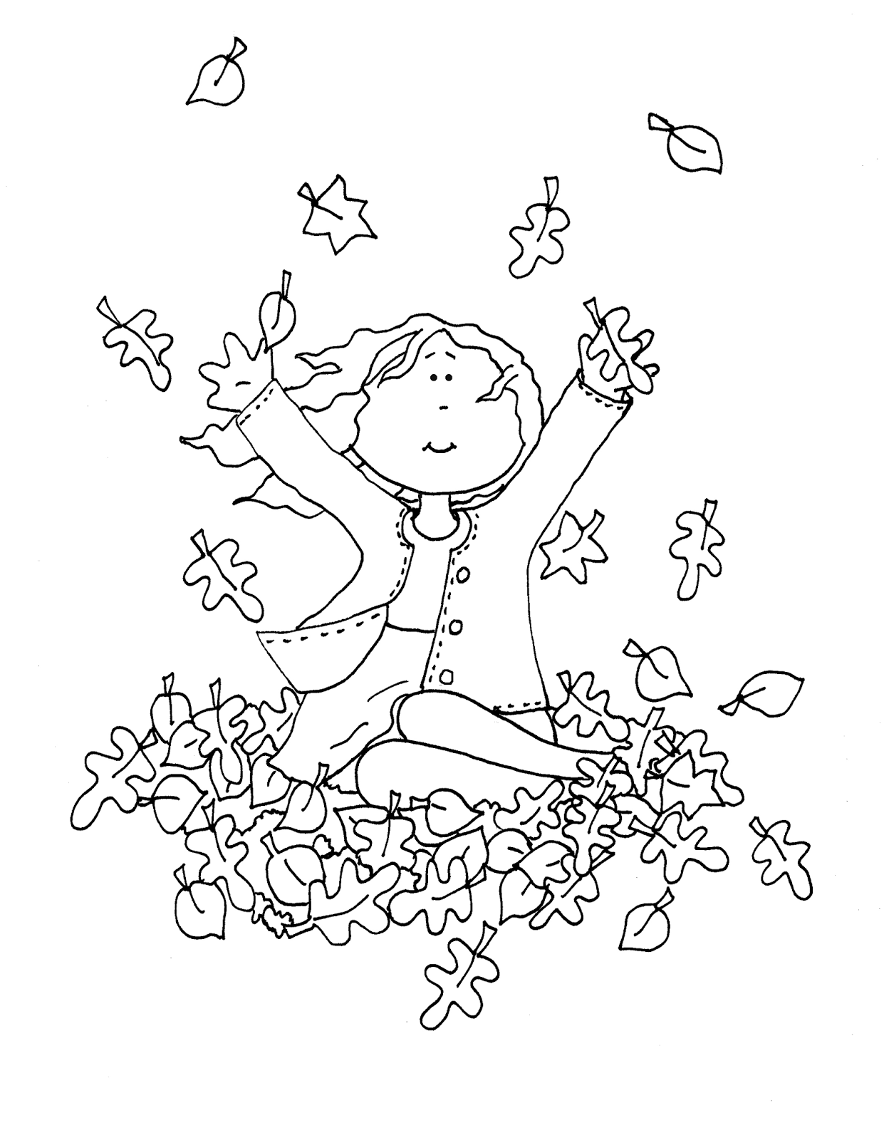 Free Dearie Dolls Digi Stamps Playing In Fall Leaves Girl