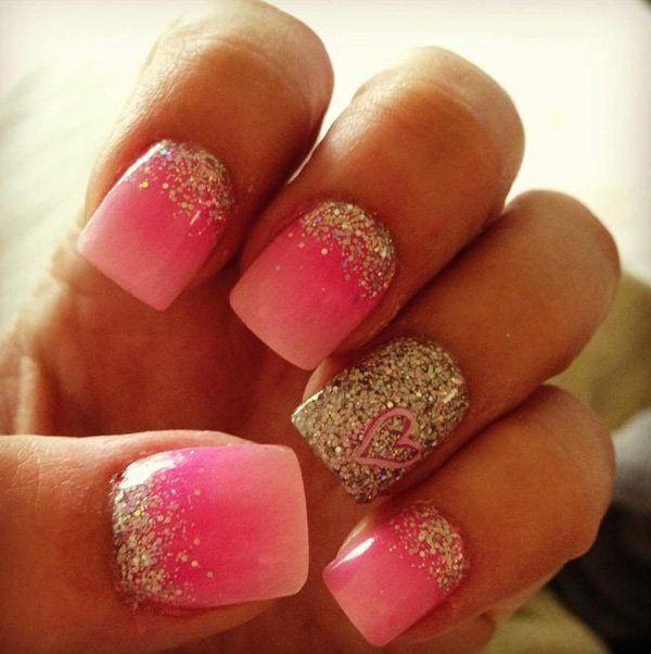 60 glitter nail art designs gradient nails glitter nails and 60 glitter nail art designs prinsesfo Choice Image