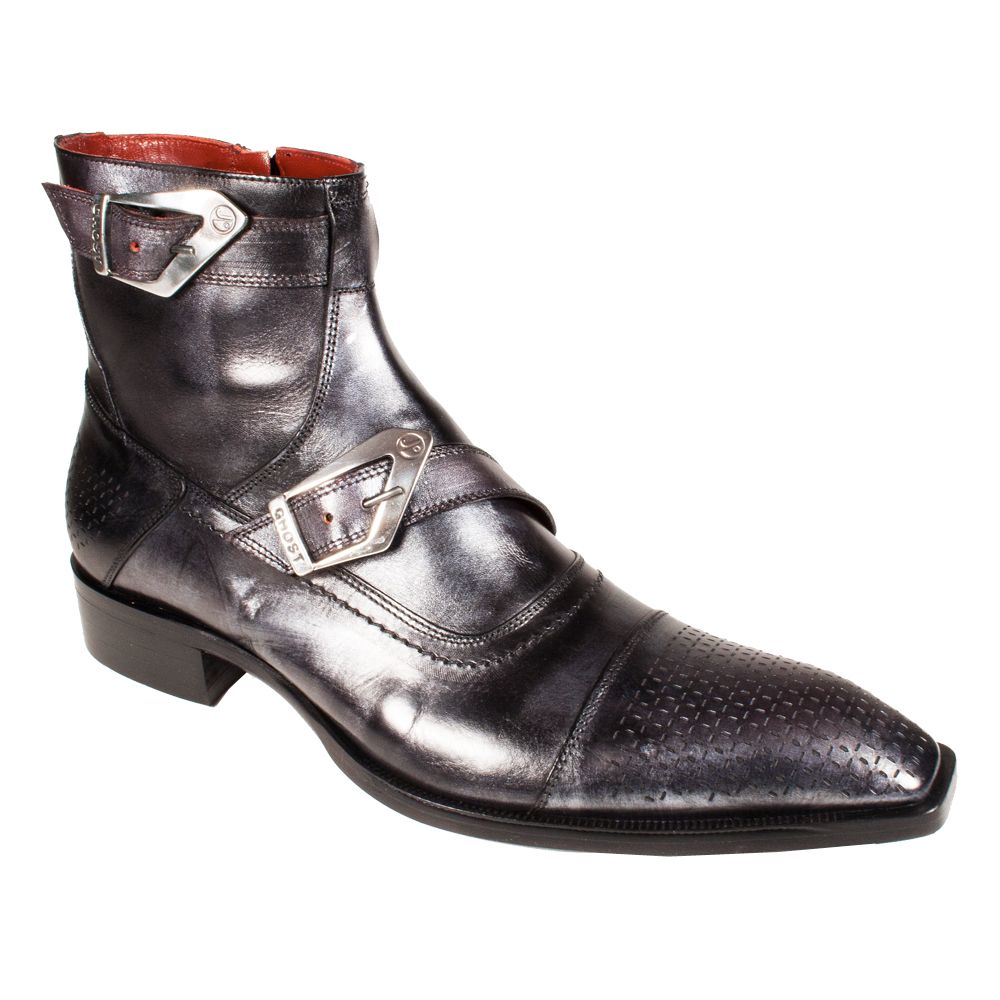 Jo Ghost Men's Designer Shoes Metallic Black Leather Boots (JG1545 ...