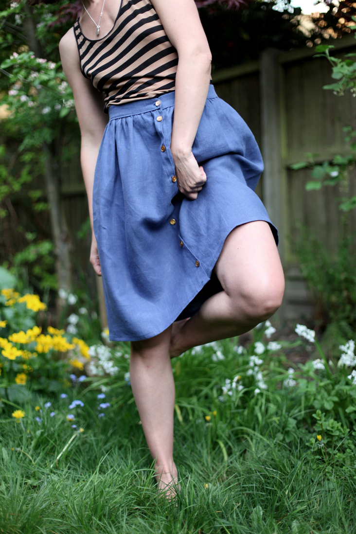 Linen skirt with waistband and button front. Free tutorial. Only one ...