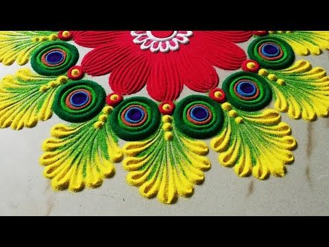 Very easy and attractive multicolored kolam for festivals | Rangoli by Sangeeta |
