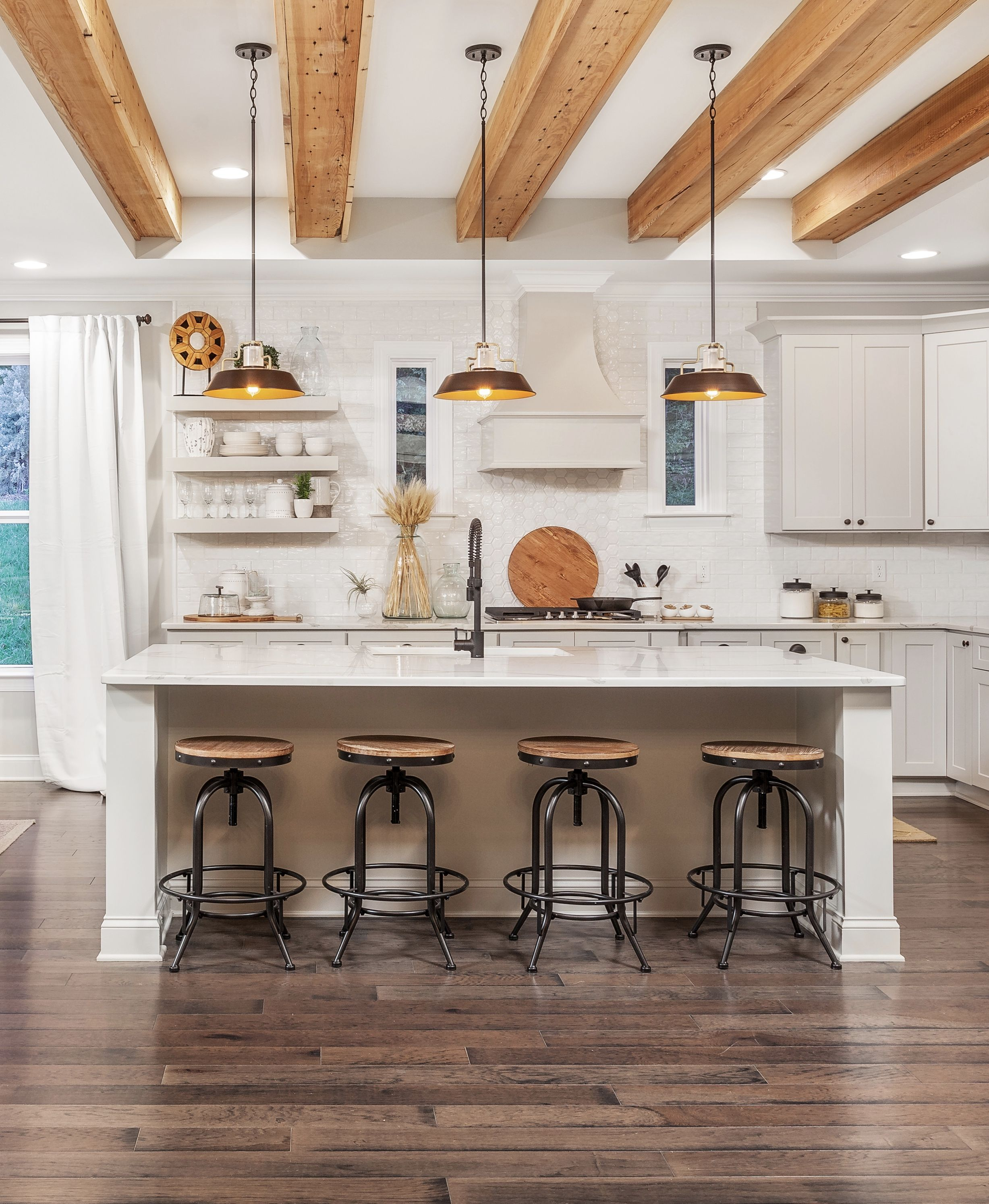 this welcoming and warm open concept kitchen design with kitchen island seating under the on kitchen remodel with island open concept id=17183