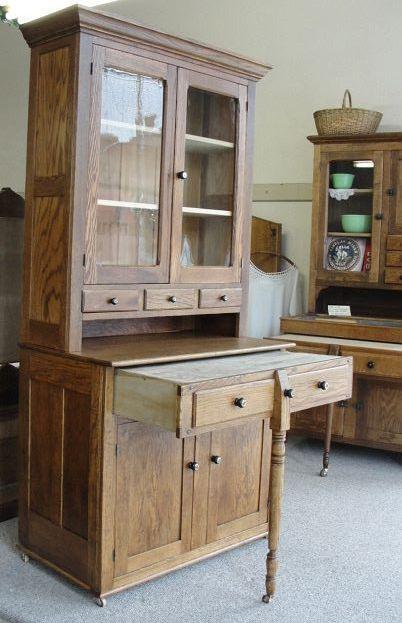 1900 Oak 2 Piece Bakers Kitchen Cabinet, 1900 Kitchen Cabinets