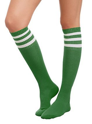 0cece371c Green And White Knee-High Crew Socks, | Stranger Things Outfit in ...