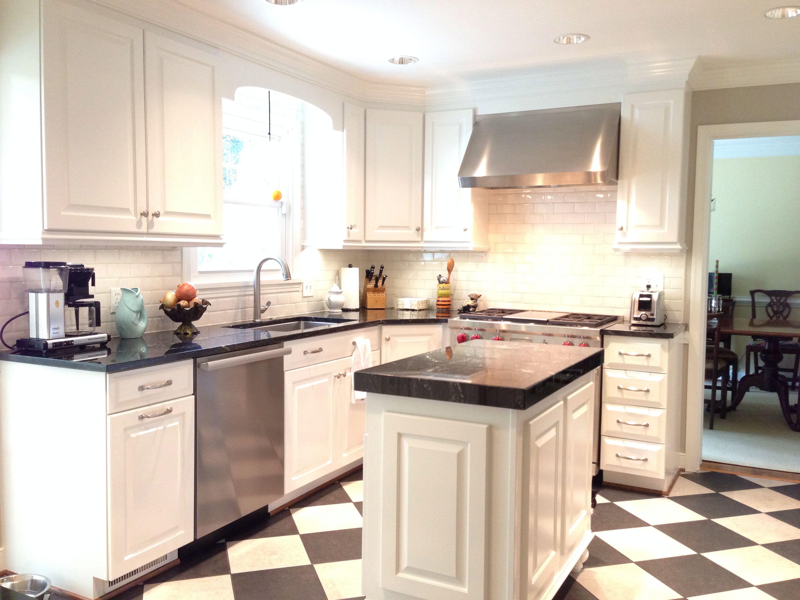 Black and white kitchen Milky Way granite, white dove BM paint on ...