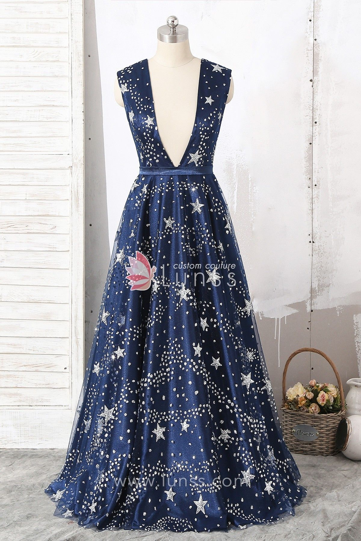 eeb659a89a5 Navy Glitter Star Straps Plunging Floor-Length A-line Prom Dress in ...