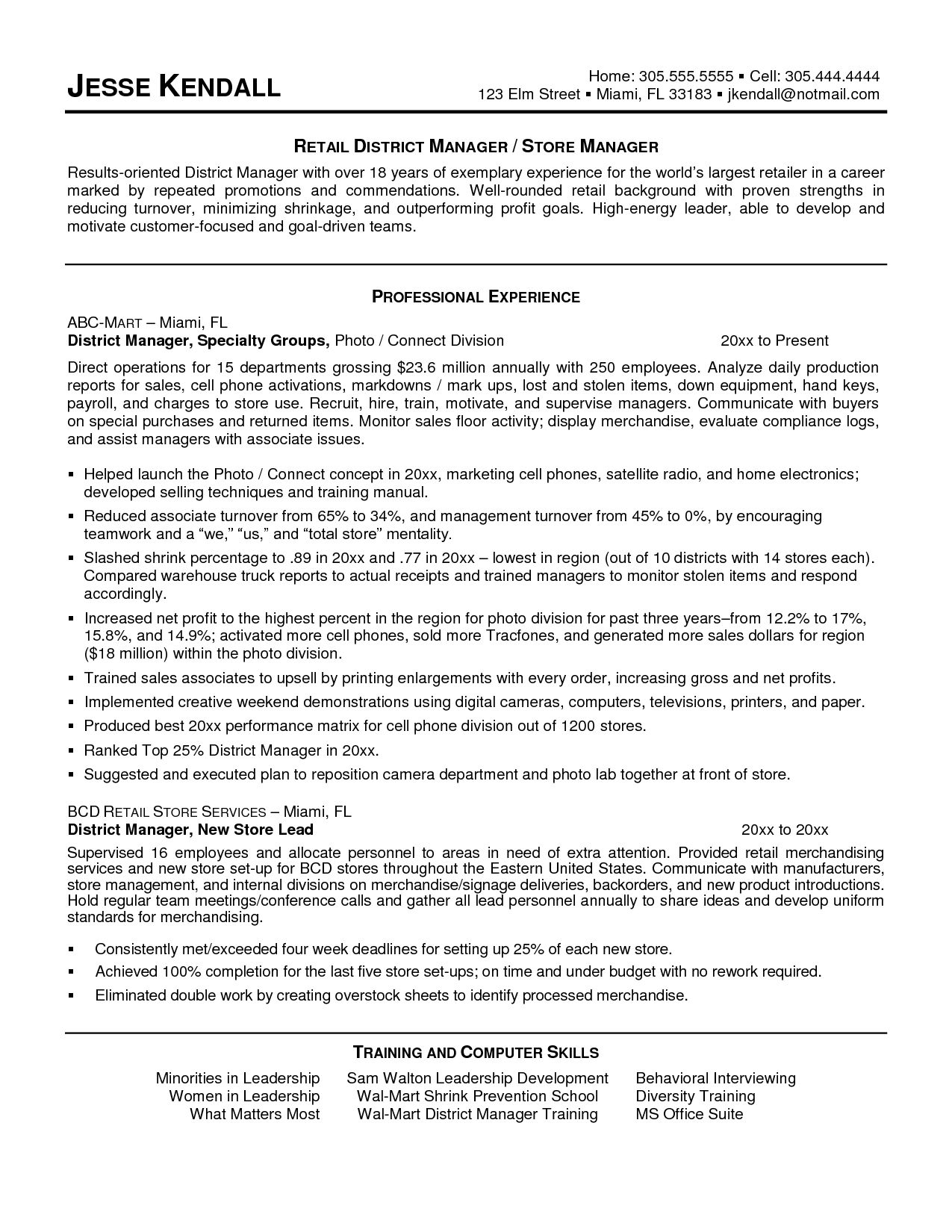 District Manager Resume Sample For Retail Store Examples Letter