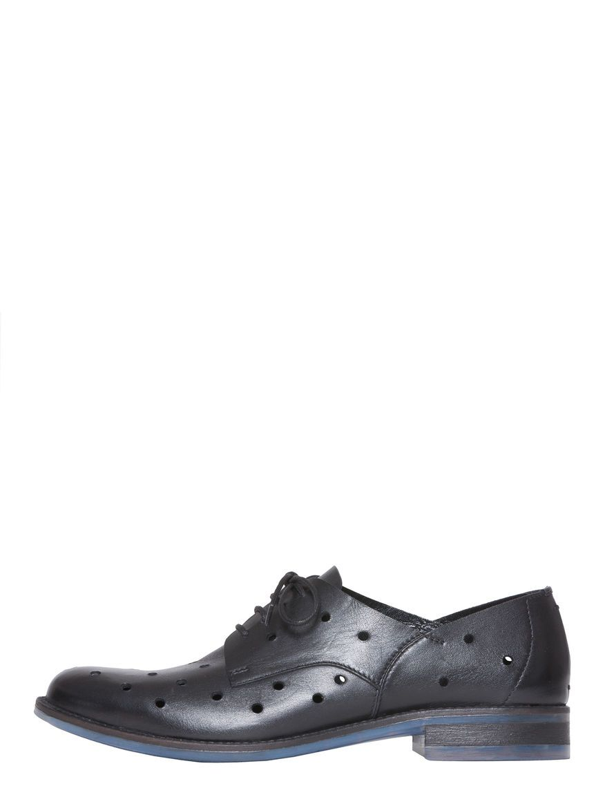 MAX&Co. - Openwork leather derby shoes, Black - 100% Made in Italy. Derby shoes in leather. Decorative perforations applied over the entire uppers. Fastened by means of laces. Round toe. Sole in transparent rubber with coloured internal portion. 2 cm heel. Lined in leather. - Free Shipping and Returns!