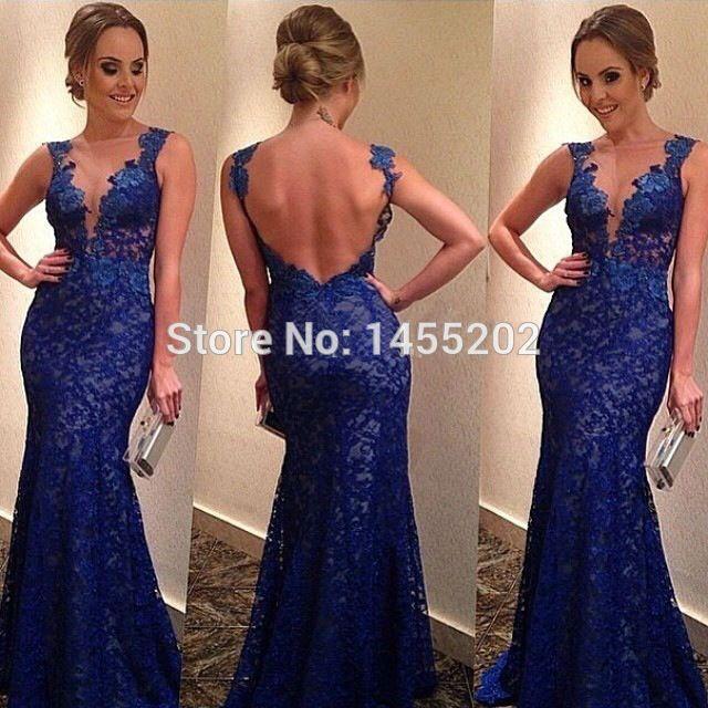 Vintage Style Deep V-Neck Sleeveless Royal Blue Long Lace Mermaid Eveing Dresses 2014 Backles Summer Vesido De Festa Longo-139$