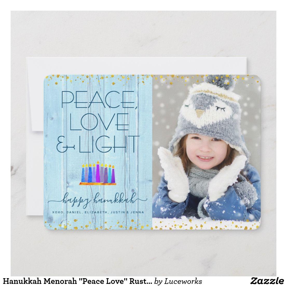 Hanukkah Menorah Peace Love Rustic Photo Flat Holiday