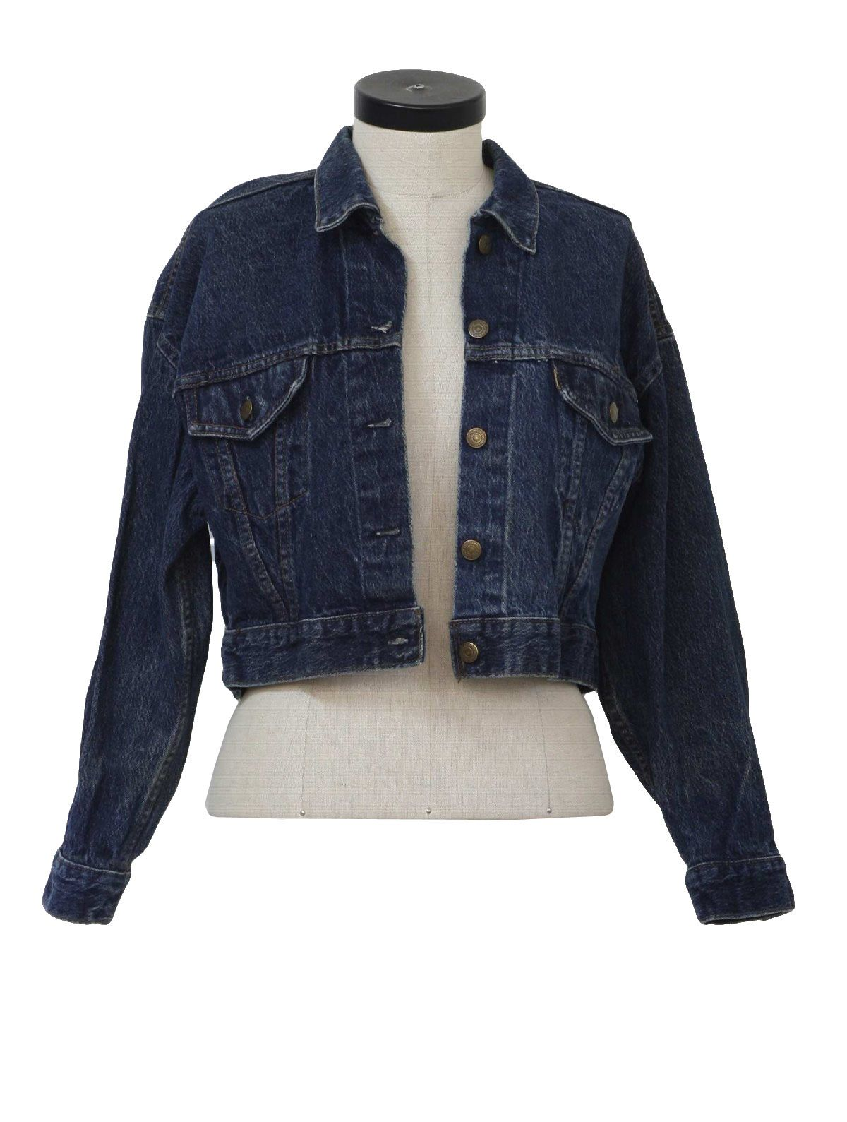 Womens Jones New York Signature Denim Jean Jacket 6 Dark Blue