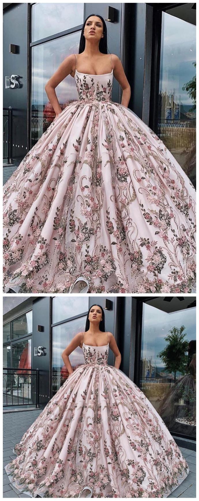 Princess Ball Gown Spaghetti Straps Beads Hotpromdress Floral Print Prom Dress Printed Prom Dresses Princess Ball Gowns [ 1731 x 690 Pixel ]