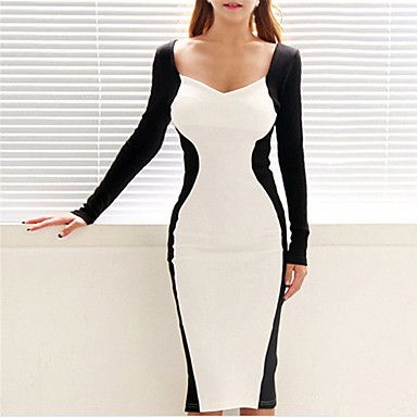 Moon Sunday Women's V Neck Long Sleeve Bodycon Dress – USD $ 14.99