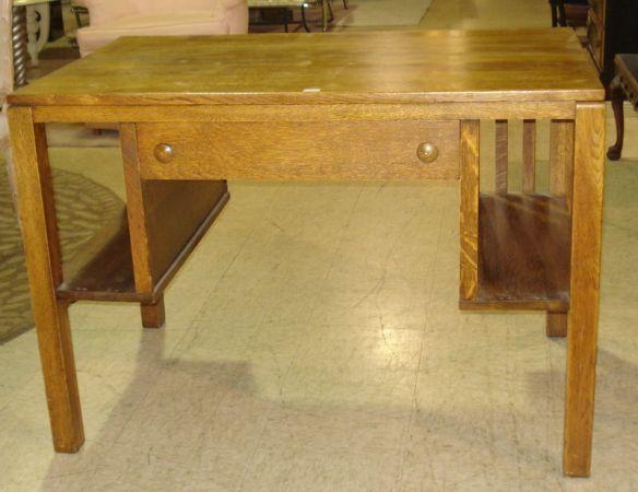 Vintage All Wood Desk W/ Built in Side Book Shelves- Mission