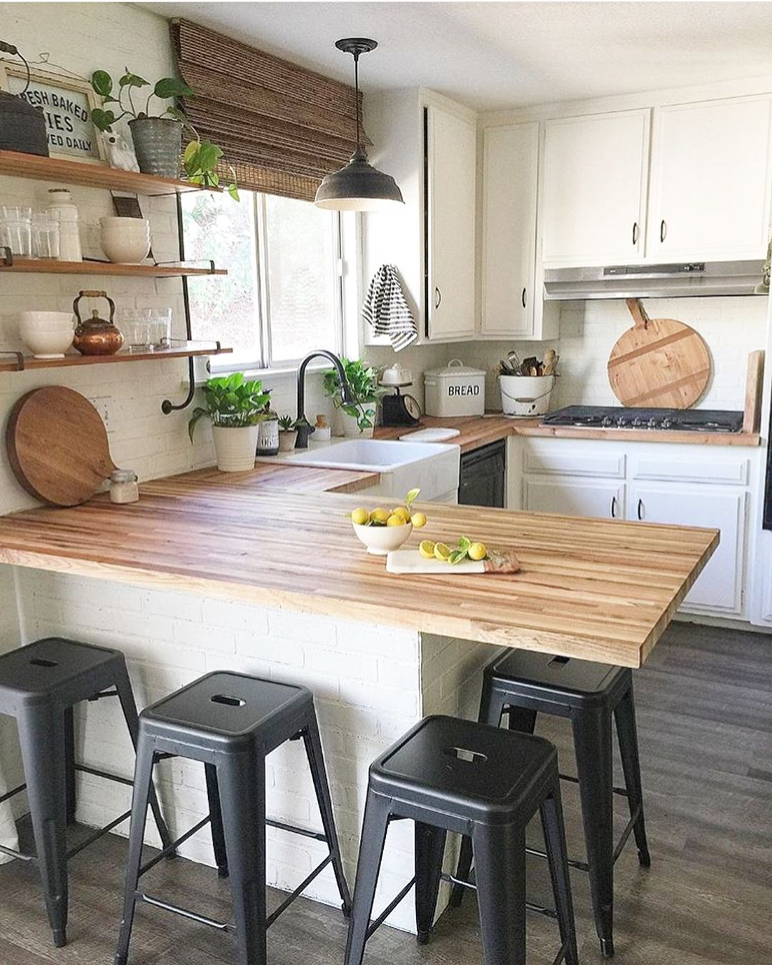 Black Kitchen Cabinets With Butcher Block Countertops: Isn't This Kitchen So Warm And Inviting? I Just Love The Wood Butcher Block And Black Accents