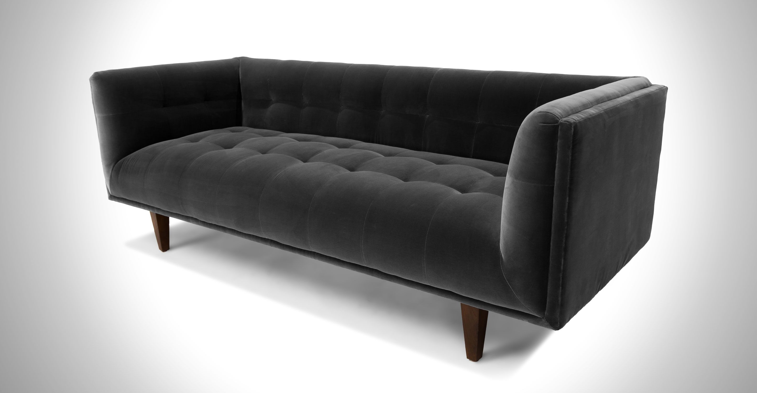 Dark Gray Velvet Sofa Tufted Wooden Legs