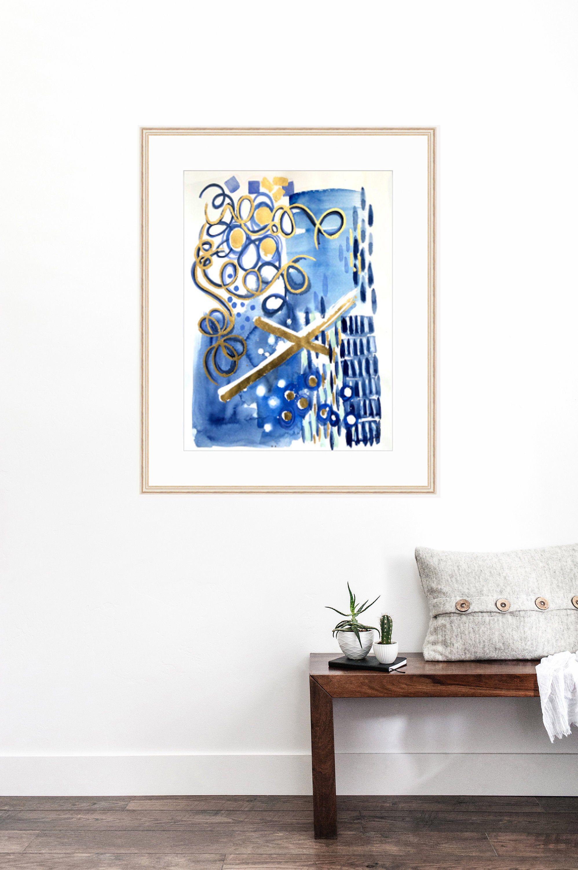 Blue Abstract Art Original Watercolor Painting Abstract Art