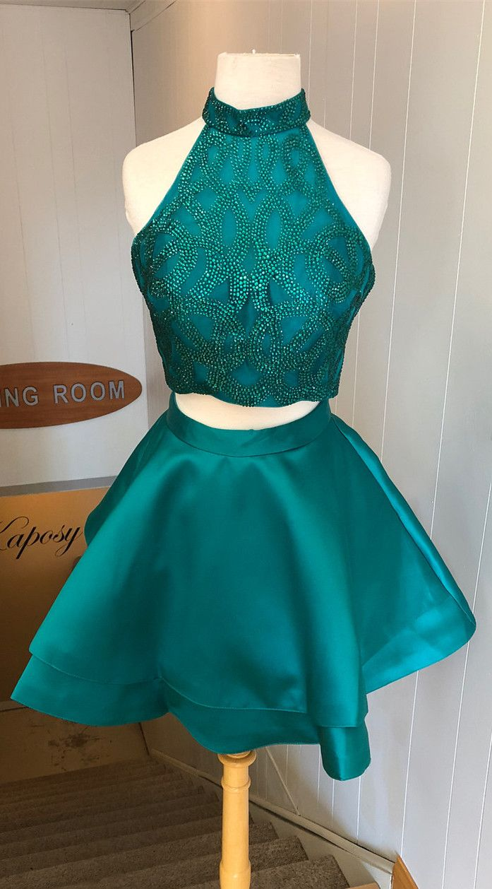 Green 2 piece homecoming dress   two piece homecoming dresses short homecoming dresses green