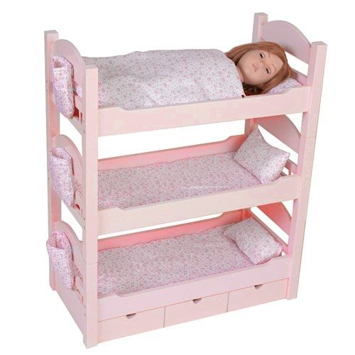 18 Inch Doll Triple Bunk Bed   Furniture Made To Fit American Girl Or Other  18