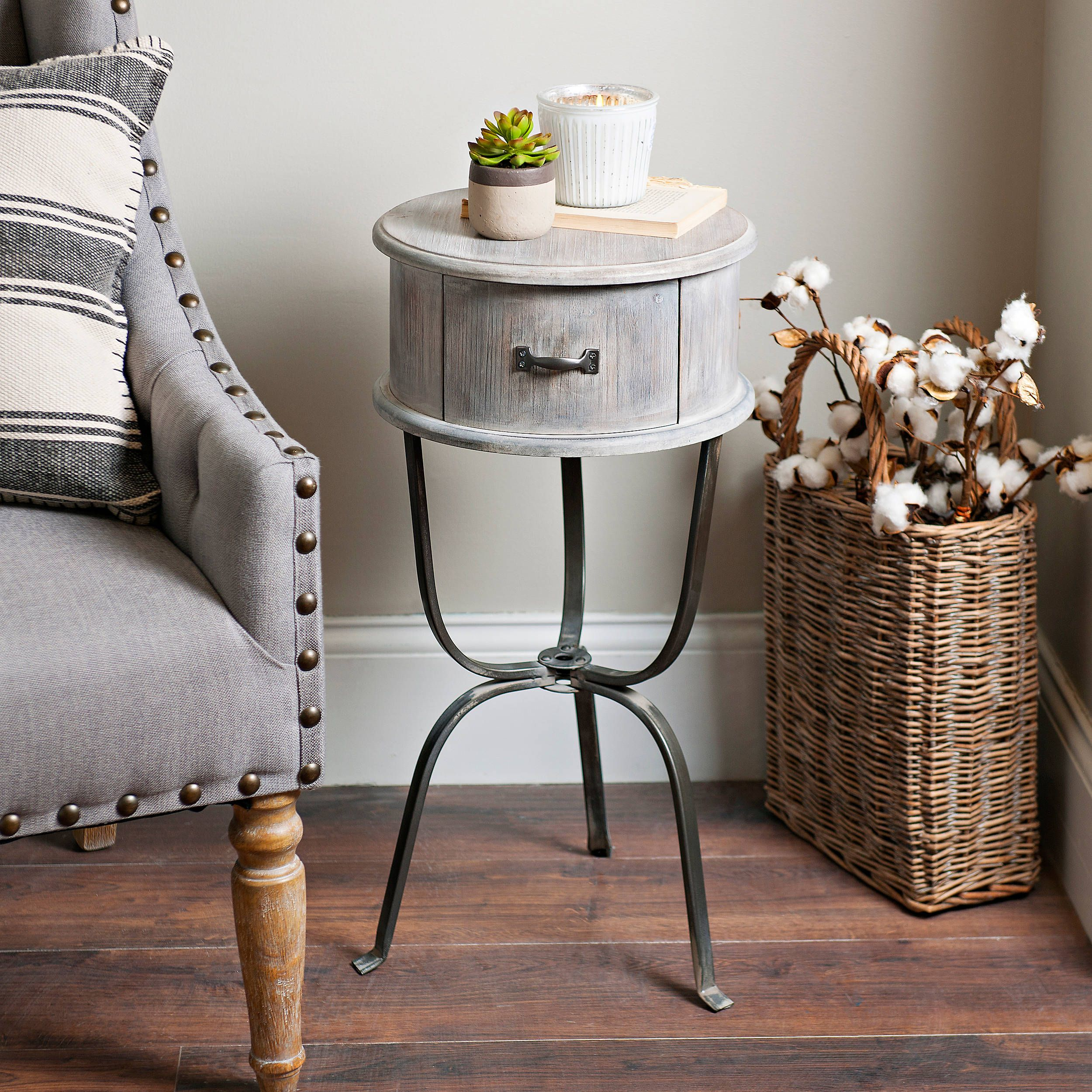 Distressed Graywashed Round Accent Table Accent Table Decor