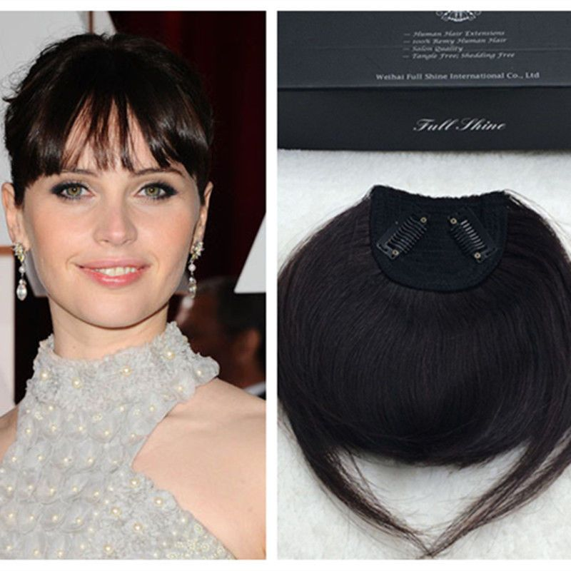 Natural Black Color Hair Bangs With Clips Real Human Hair Fringe Extensions Fullshine Bangs Hair Color For Black Hair Real Human Hair