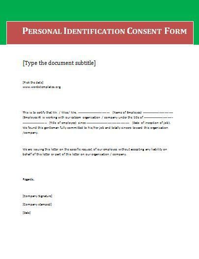 Consent Form Blank  Wordstemplates    Template Pdf