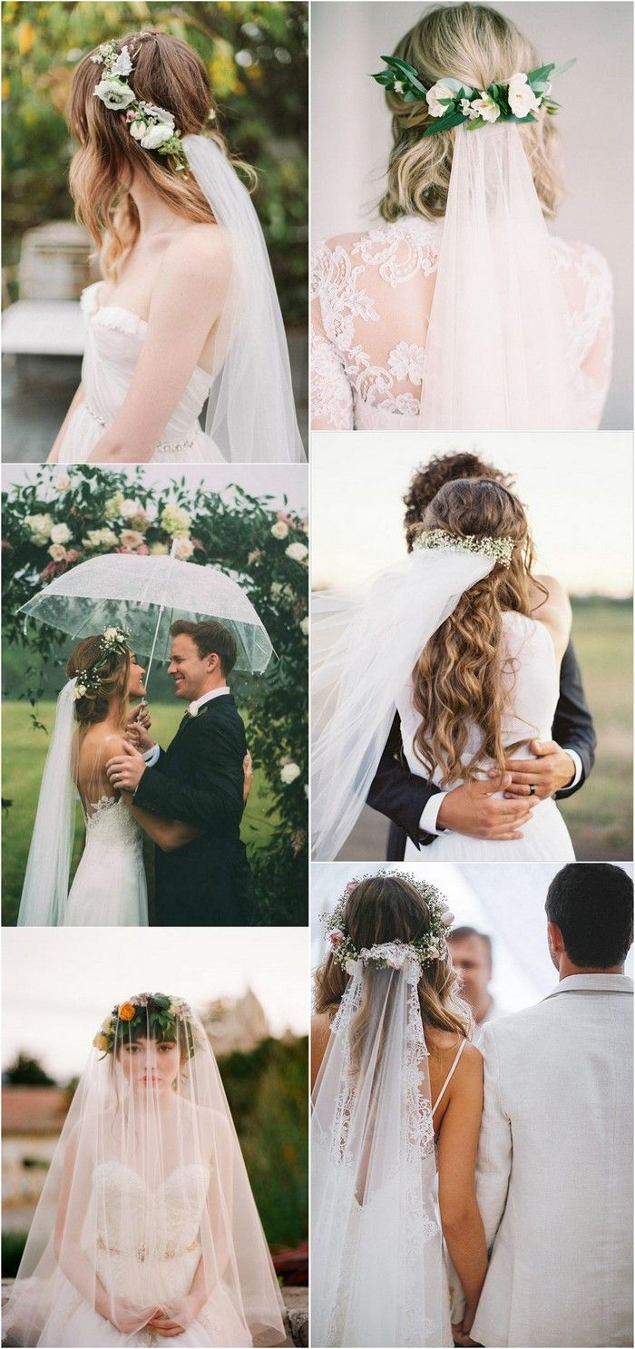 Top wedding hairstyles with flower crown veil for flower