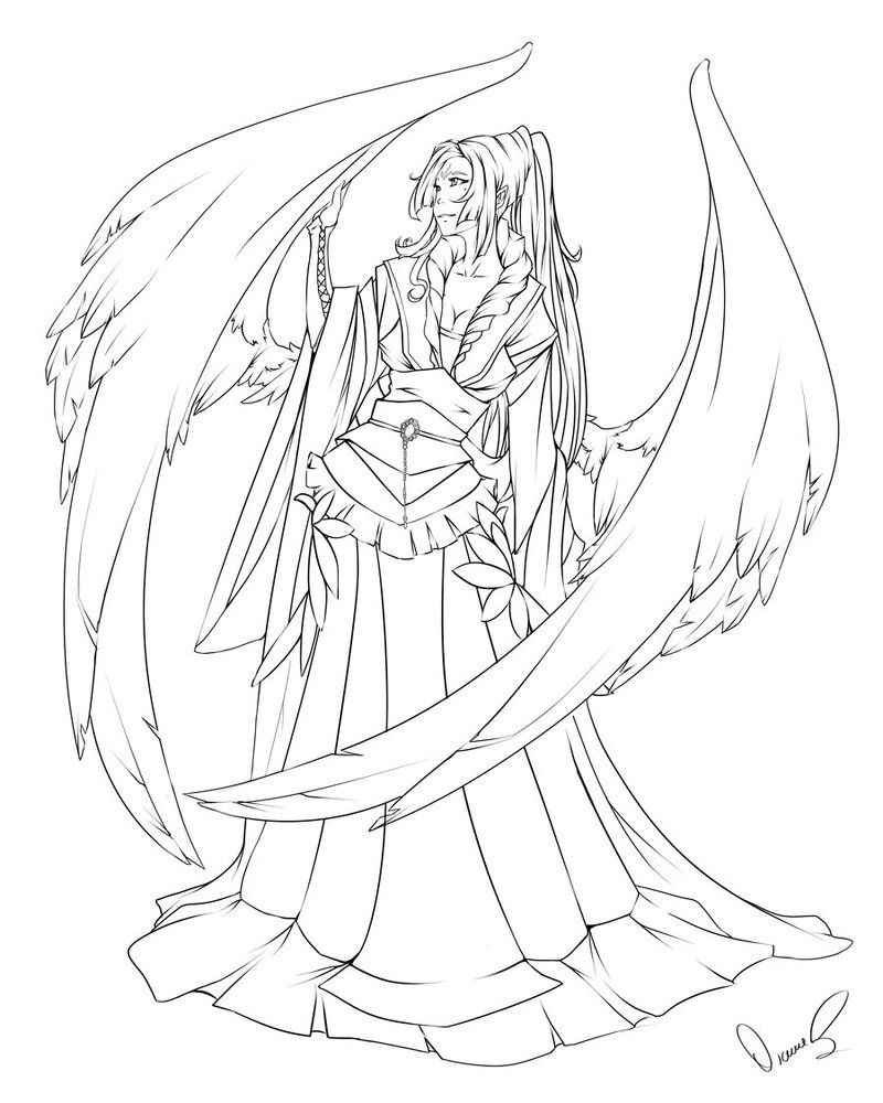 Ellethes Kyoishi Line Art By Takumy On Deviantart Angel Coloring Pages Line Art Art