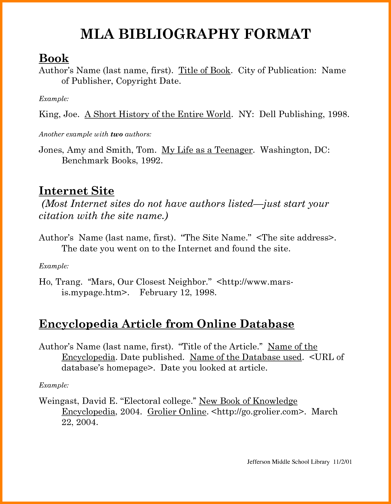 Bibliography Sample Mla