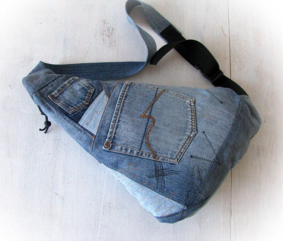 15802706e00 denim crossbody bag, one strap blue jean backpack, recycled jeans mono strap  backpack,