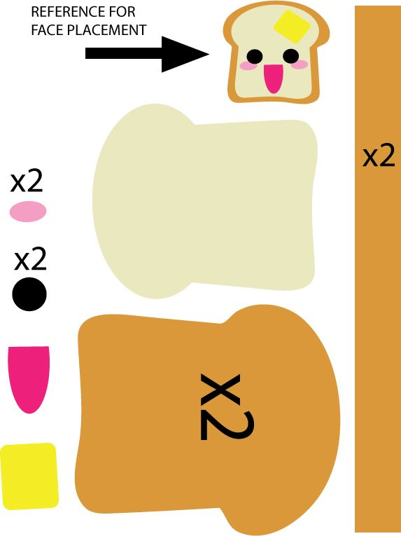 Toast pattern by on deviantart for Felt plushie templates
