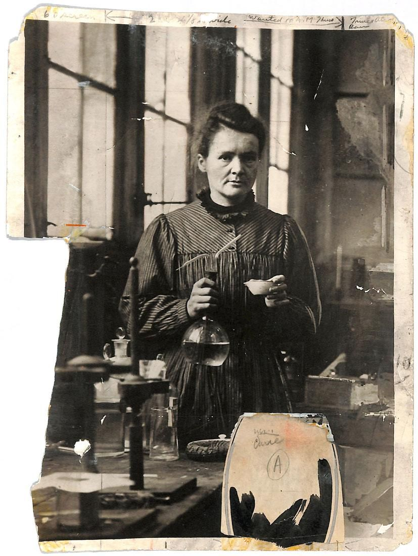 Marie Curie in her laboratory in Paris. Original 1921 New York Times print.