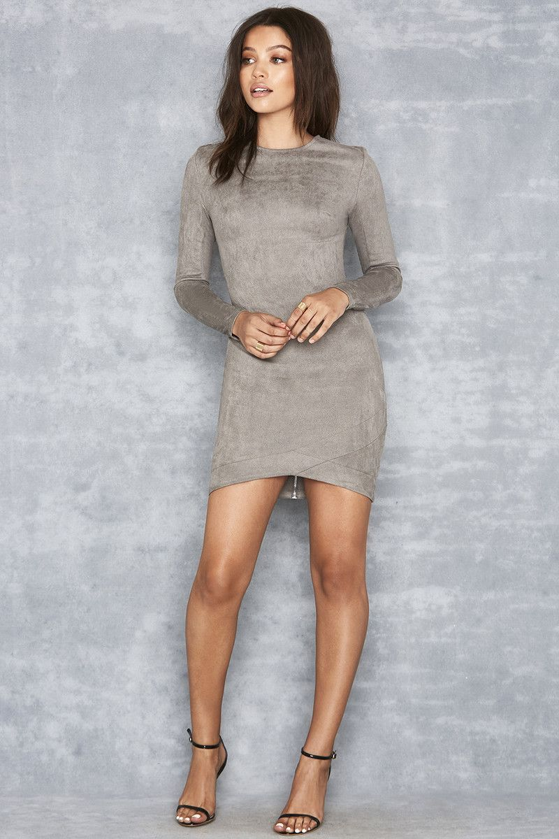 2968bd2fed  Gunsmoke  Grey Suedette Asymmetric Dress - Mistress Rocks.