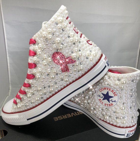 c68f3a97c9c4b6 Breast Cancer Custom Converse- Pink Ribbon Bling   Pearls Custom Converse  Sneakers- Personalized Chuck Taylors- All Star Converse Sneakers- www.