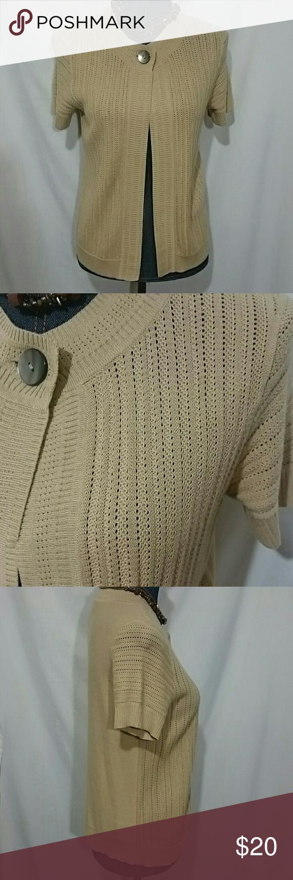 Evan Picone Short Sleeve Cardigan Beautiful one button tan ...