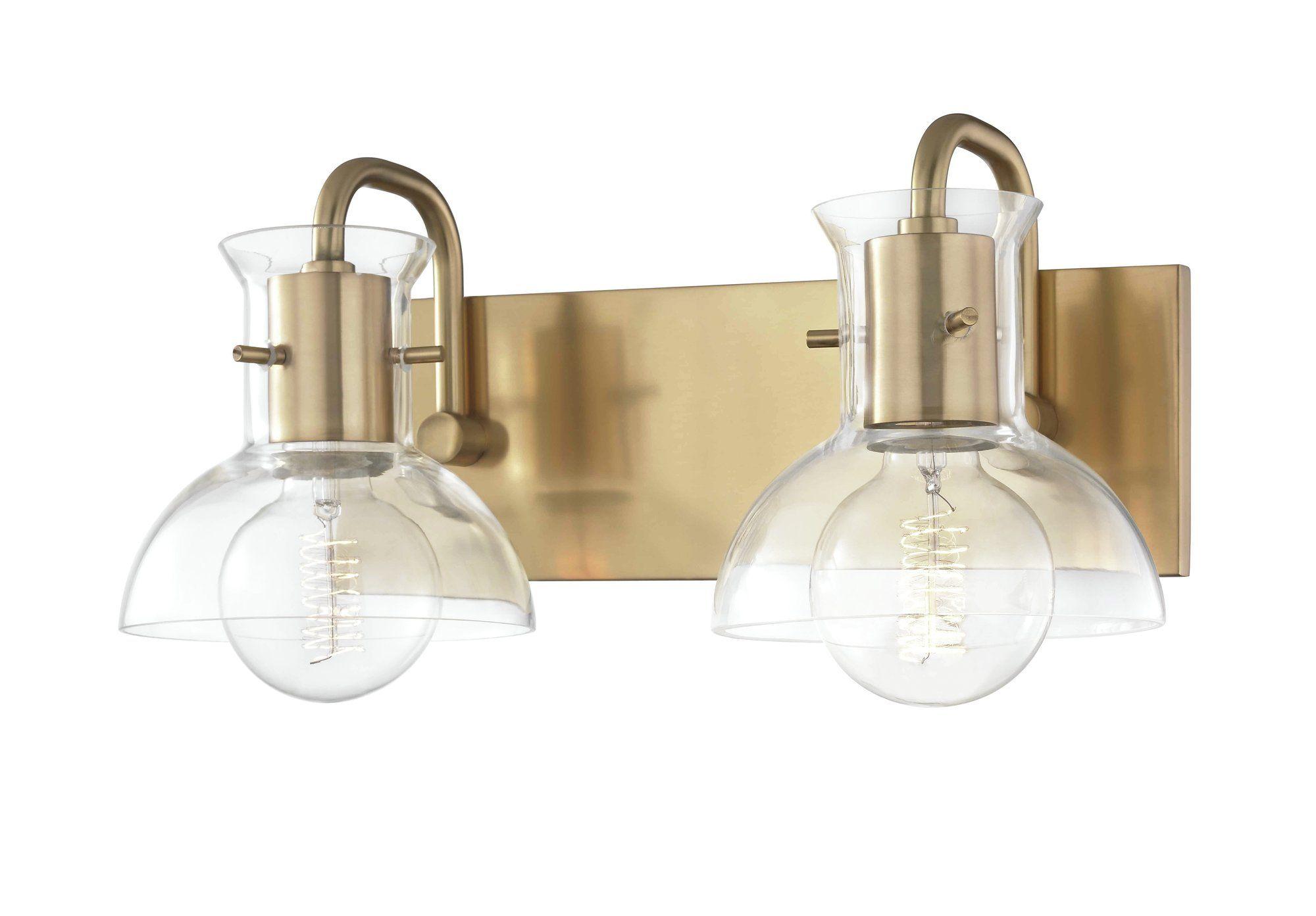 Jaxon 2 Light Vanity Light With Images Brass Bathroom Lighting