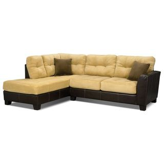 Bella 2 Piece Left Facing Microsuede Sectional Two Tone Brown The Brick Sectional Sectional Sofa Living Room Sets Furniture