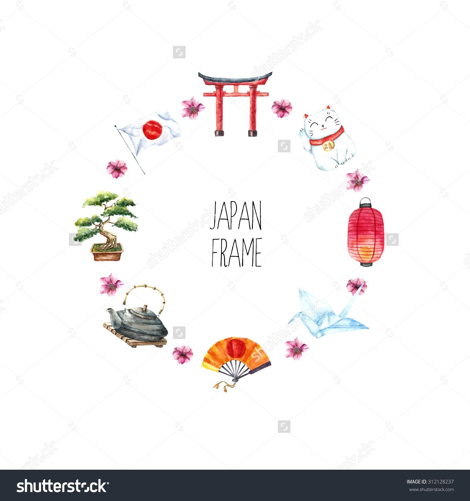 Watercolor Japanese Frame Round Frame With Hand Draw Japanese