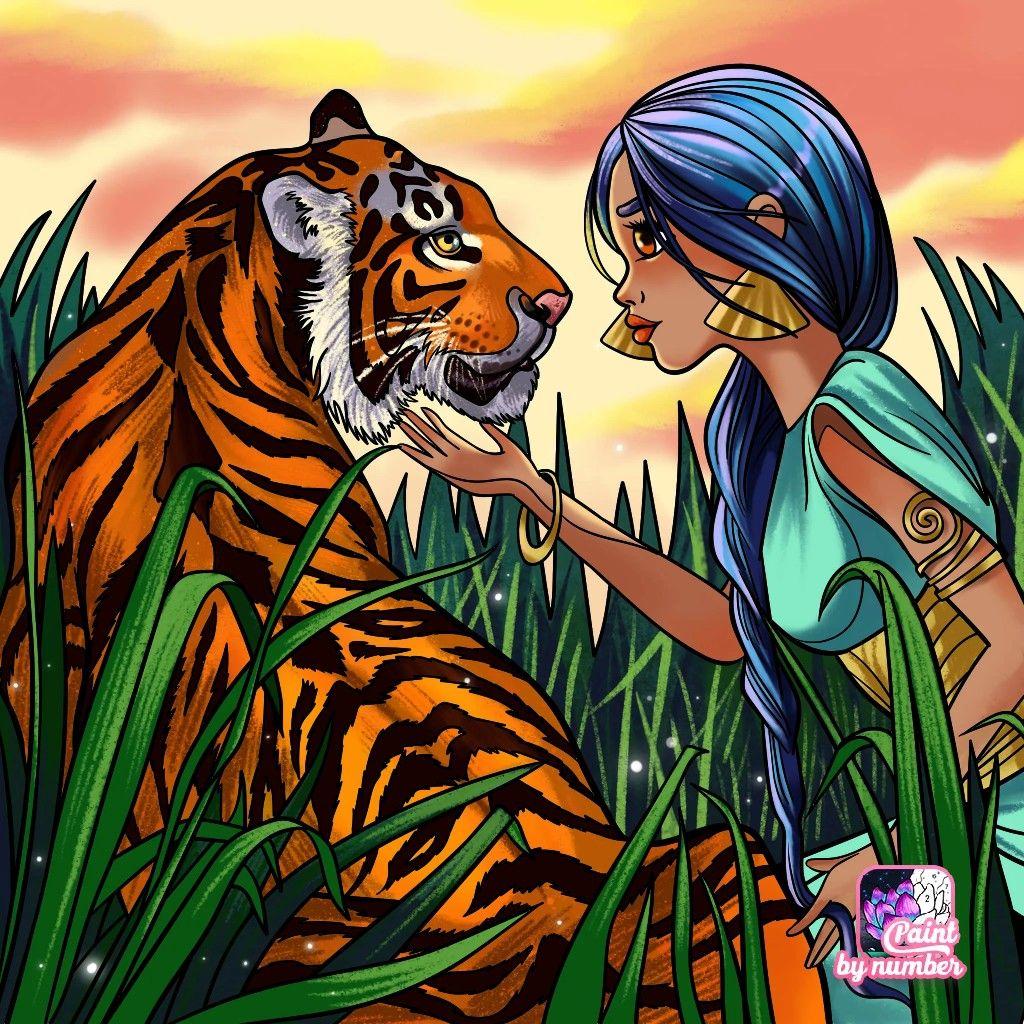 Девочка и тигр | Раскраски, Искусство, Картинки