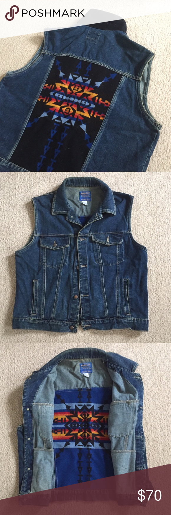 Vintage Pendleton Aztec Navajo Jean Vest Jacket Trendy Clothes For Women Clothing Patterns Classy Shirt [ 1740 x 580 Pixel ]