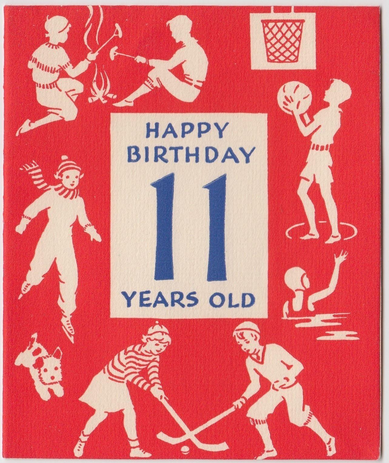 Vintage Greeting Card 11th Birthday Sport Ice Skating Hockey Swimming Basketball | eBay