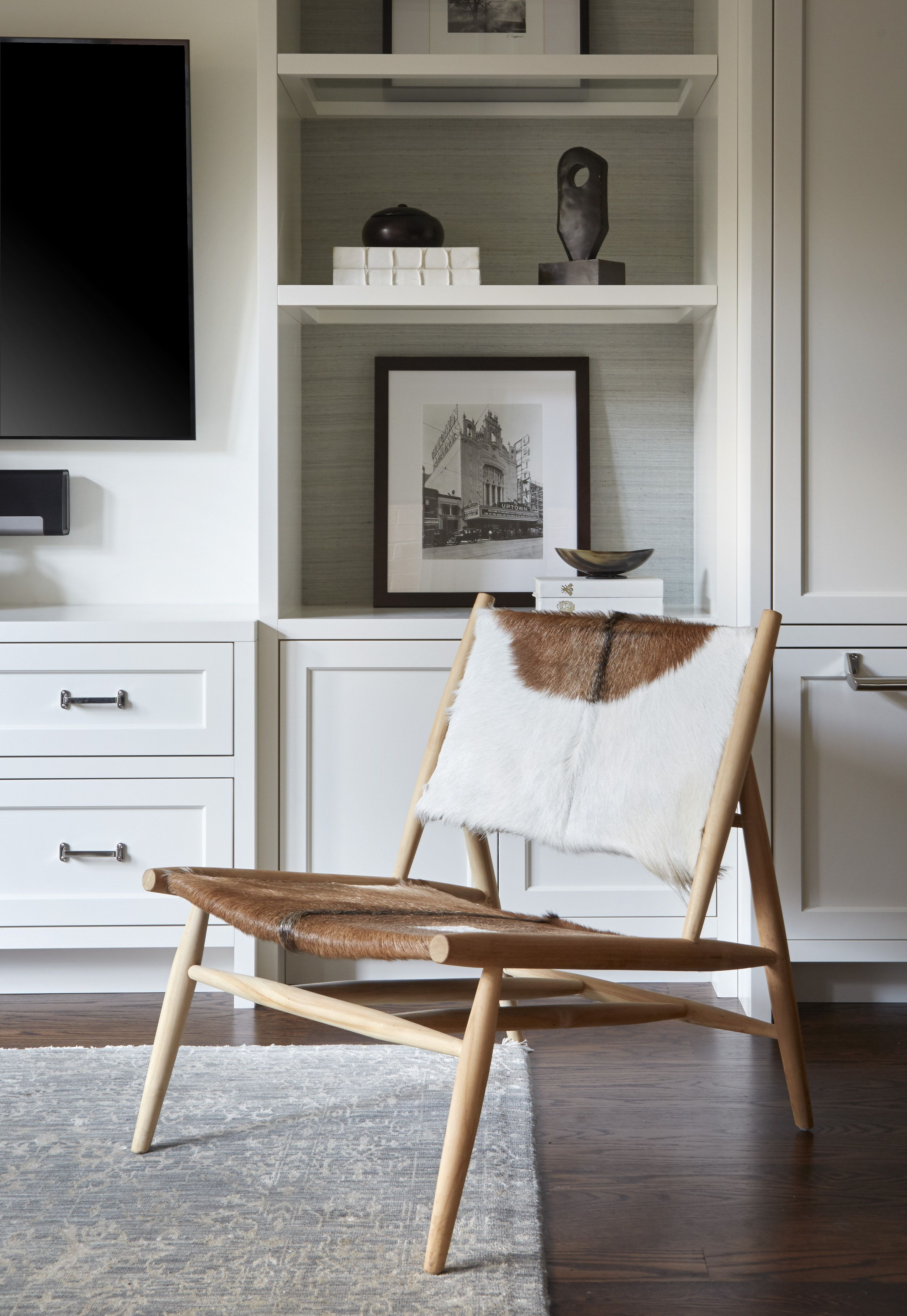 Powder Room By Amy Kartheiser Design: Vignette Of Cowhide And Teak Chair, Custom Built Ins With