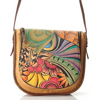 72307f813b68 709-742 - Anuschka Hand Painted Leather Zip Around Flap Saddle Bag ...