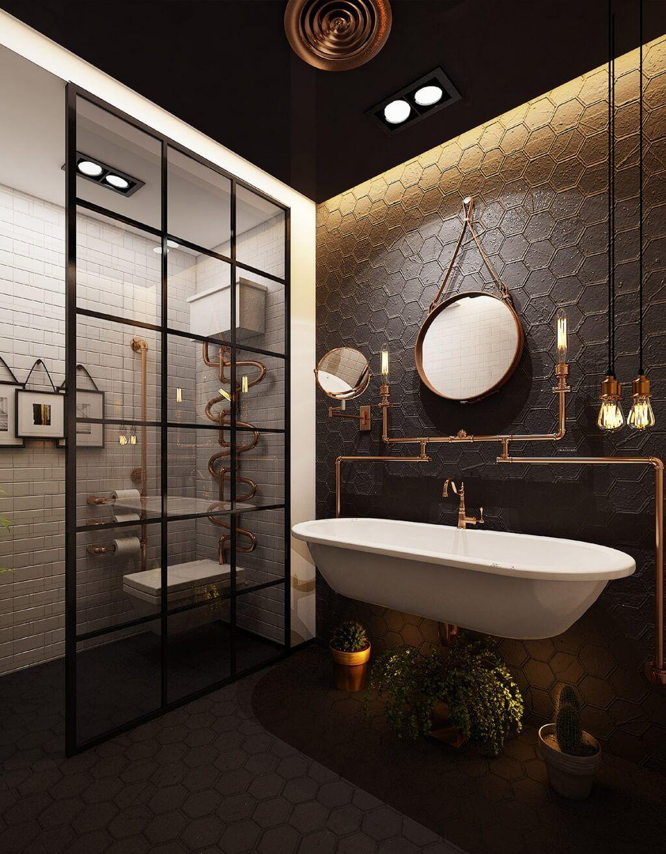 10 Dark Bathroom Ideas 2020 Quiet And Graceful Industrial Style Bathroom Elegant Bathroom Steampunk Bathroom