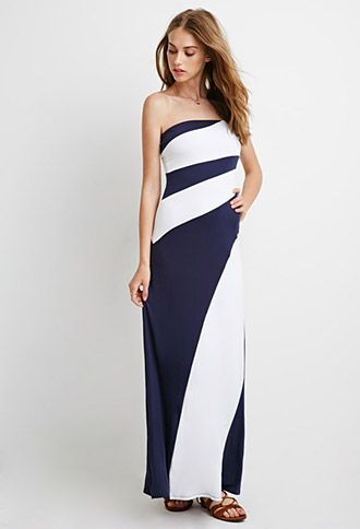502c6381a1e0 Strapless Colorblock Maxi Dress