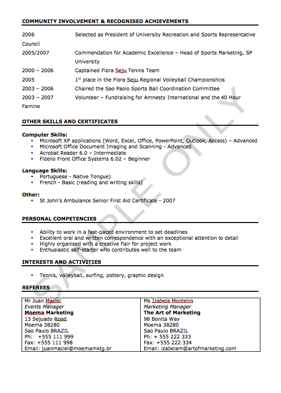 Example Of A Cv Sample Cv For Markekting  Httpresumesdesignsamplecvfor .