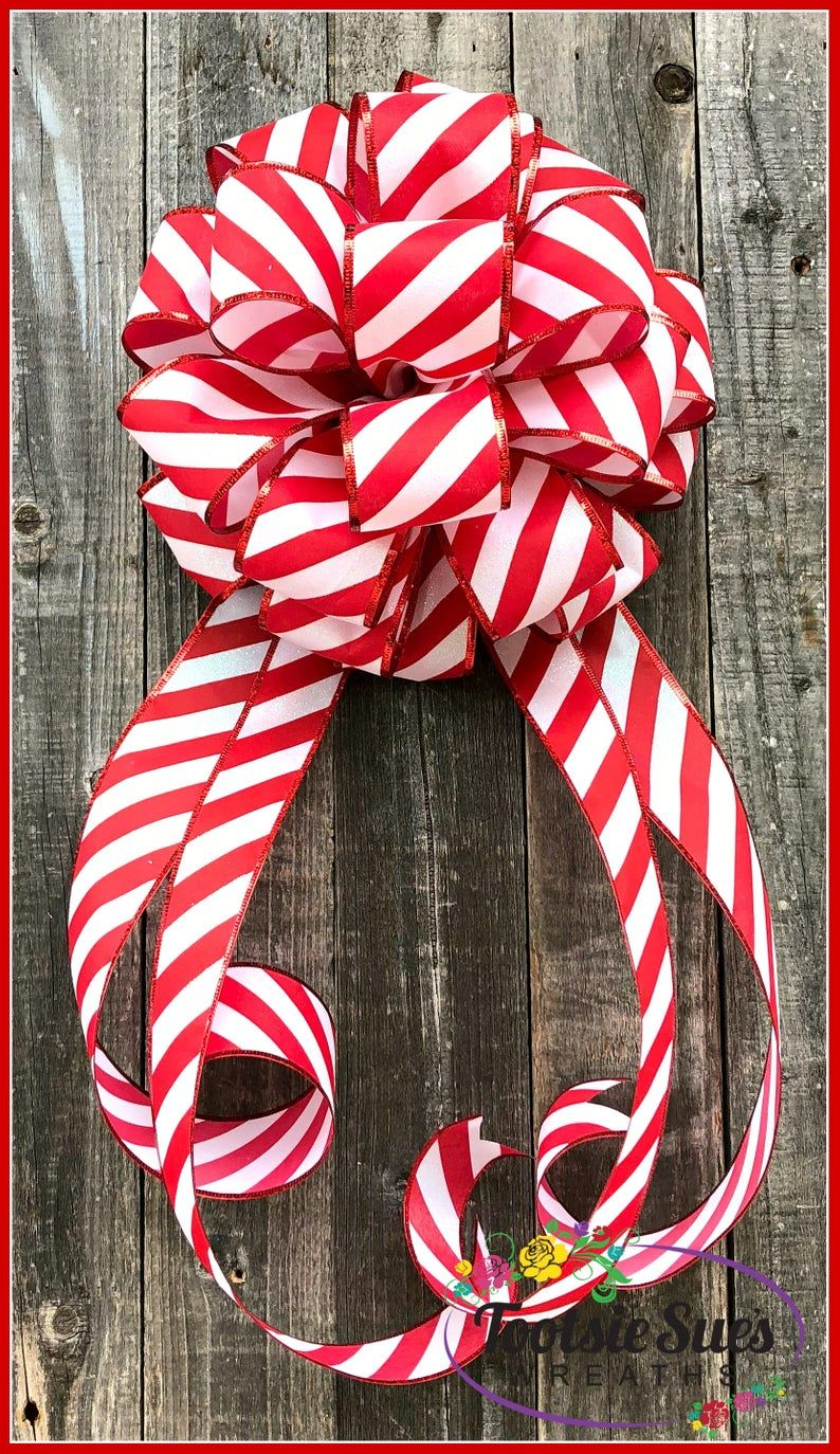 """10/"""" WIDE CANDY CANE CHRISTMAS BOW~DECORATION FOR WREATHS TREE TOPPER GIFTS DECOR"""